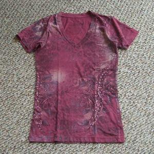 Sinful rose dagger print embellished tee shirt S